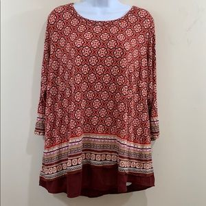 Rose & Olive Long Sleeve Scoop Neck Shirt  Sz 2X